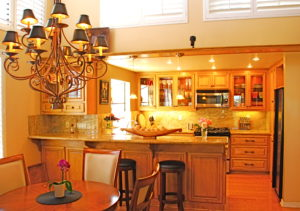 Warm and glowing romantic kitchen